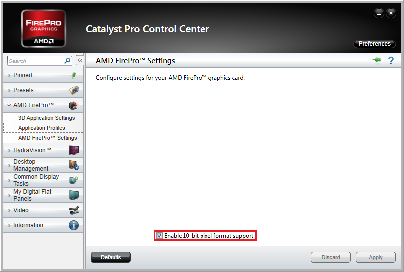 Figure 3) Video Driver Settings